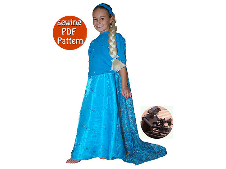 Princess costume - Gown train & bodice - Sizes 92 to 178 (US 3 to 16 ans) - French/english PDF sewing pattern  at Makerist - Image 1