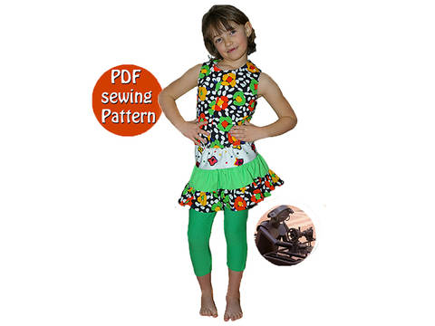 Reversible blouse ruffle skirt & skintight leggings - Girl sizes  - French/english PDF sewing pattern  at Makerist