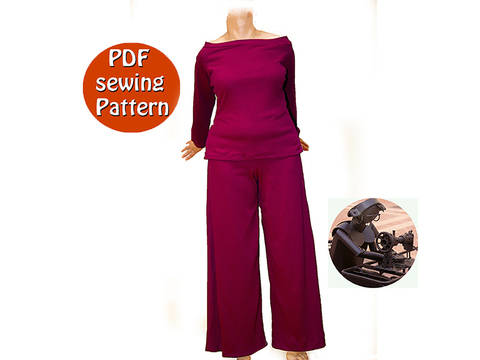 Extensible high waisted pants and sweater for women - Sizes 50 52 54 56 (US 24 26 28 30) - French/english PDF sewing pattern  at Makerist