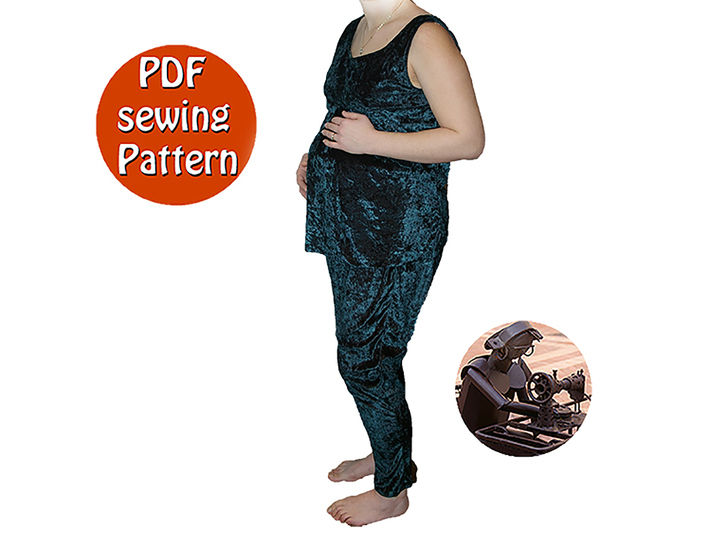 Multisizes Hobo pants and top pregnancy pattern - Harem pants low fork - French/english PDF sewing pattern  at Makerist - Image 1