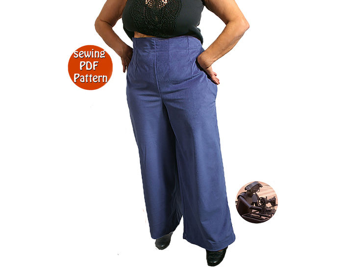 Empire waist pants for women - Plus sizes - T 40 42 44 46 48 (US 14 16 18 20 22) - French/english PDF sewing pattern  at Makerist - Image 1