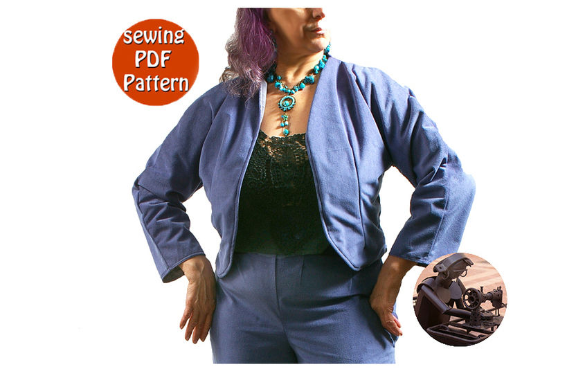 Reversible short jacket for women - T 38 40 42 44 (US 12-14-16-18) - French/english PDF sewing pattern  at Makerist - Image 1