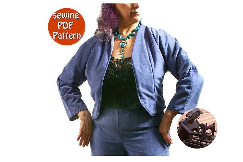 Reversible sjacket for women - Plus sizes 50 52 54 56 (US 24-26-28-30) - French/english PDF sewing pattern  at Makerist - Image 1