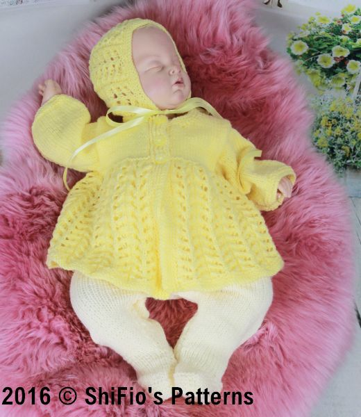 KP352  Lemon Matinee jacket , leggings and hat Baby Knitting Pattern #352