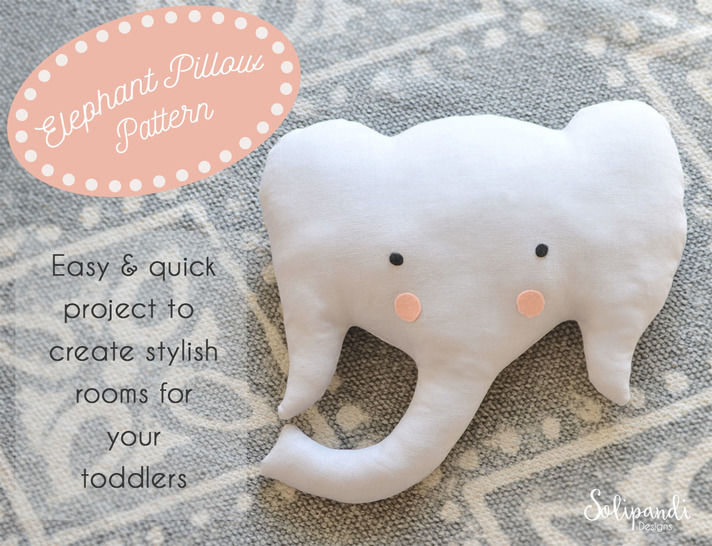 Elephant Pillow Sewing Pattern // Make your own // Toy Pattern // Easy Sewing Pattern at Makerist - Image 1