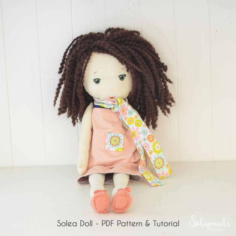 Solea fabric doll pdf pattern/tutorial // Make your own rag doll // Ragdoll pattern // Doll Making Project // Cloth Doll Pattern //Solipandi