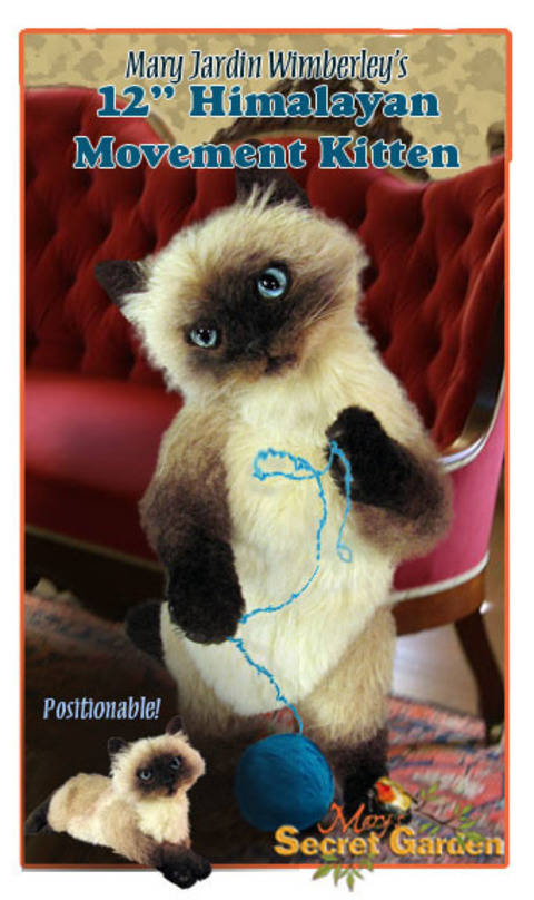 12 cm Himalayan Cat Sewing pattern, Realistic Plush,Teddy Bear Style
