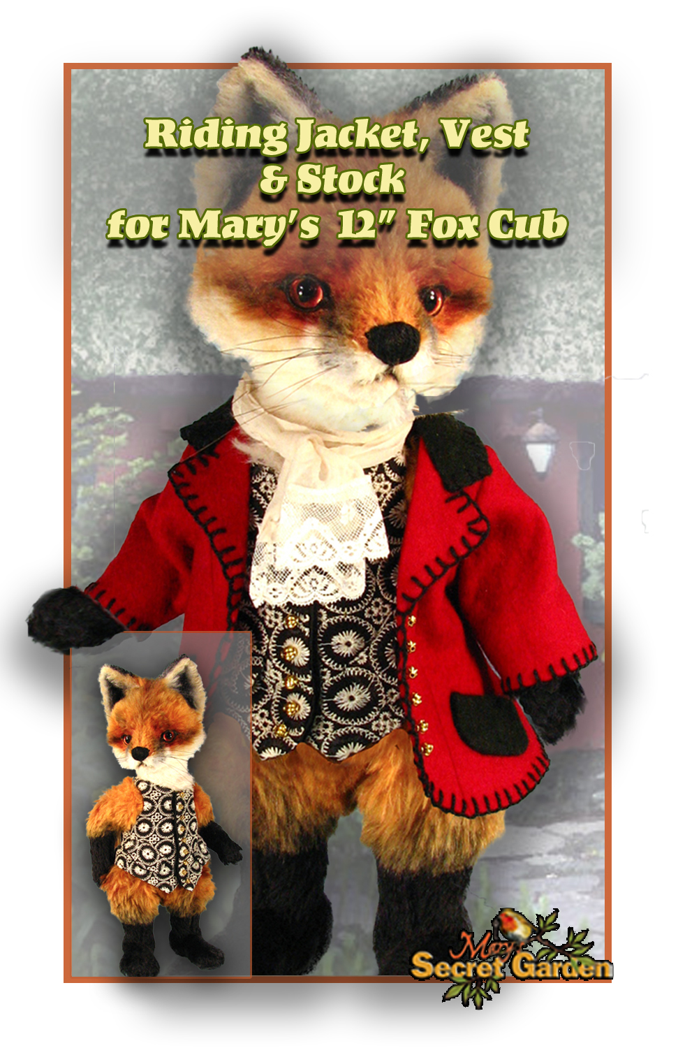 30 cm Fox clothing pattern, Doll Bear outfit, Fox Riding Jacket, Vest