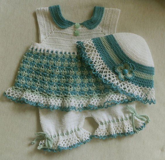 Baby Girl Summer Set Dress, Hat and Capris Crochet Pattern at Makerist - Image 1