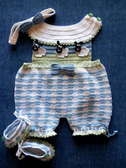 Newborn Romper Sunsuit Crochet Pattern with Matching Shoes and Headband at Makerist - Image 1