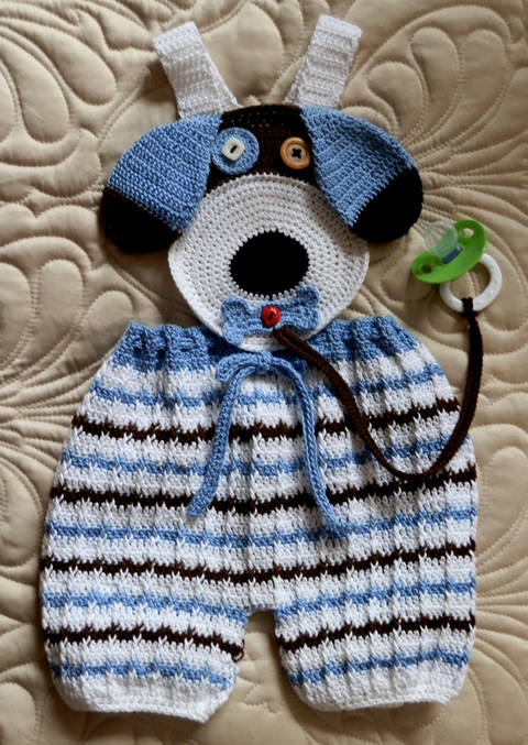 Baby Boy Puppy Face Overalls with Binky Lariat  Crochet Pattern at Makerist