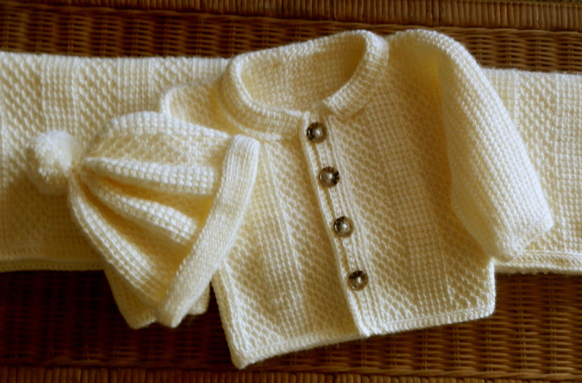 Baby Sweater Matching Hat Set and Blanket! Tunisian Crochet Pattern 24mo at Makerist - Image 1