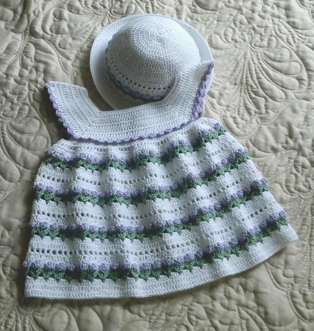 Baby Girl Dress and Bonnet 18 to 24 mo Crochet Pattern