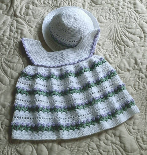 Baby Girl Dress and Bonnet 18 to 24 mo Crochet Pattern at Makerist
