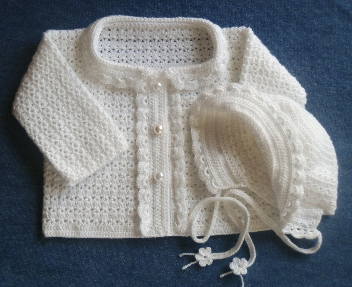 Newborn Special Occasion Sweater and Bonnet Crochet Pattern