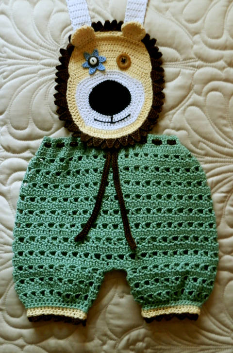 Baby Boy Crochet Lion Face Overalls! Crochet Pattern 9-12 mo