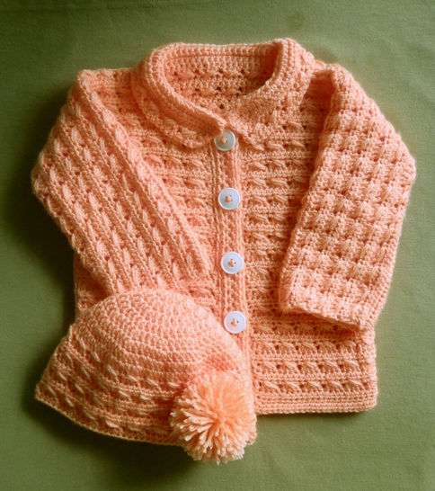 Baby Girl or Boy Sweater Jacket and Hat Crochet Pattern 24 months at Makerist - Image 1