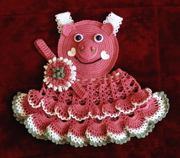 Baby Girl Piggie Pinafore 12-36 months Thread Crochet Pattern at Makerist - Image 1