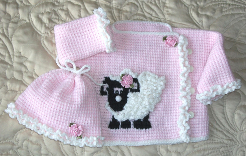 Baby Girl Sheep Sweater Set Tunisian Crochet 6-9mo  Pattern at Makerist - Image 1