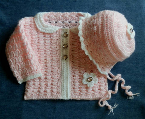 Baby Girl Sweater and Matching Bonnet  12 months