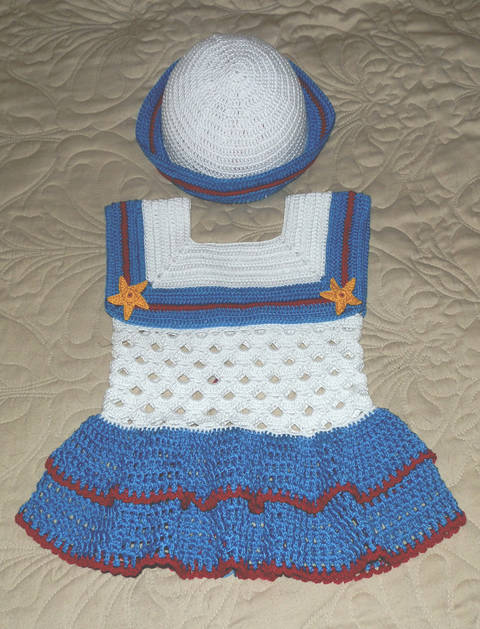 Baby Girl Sailor Dress and Hat 18 to 24 mo #3 Cotton Thread