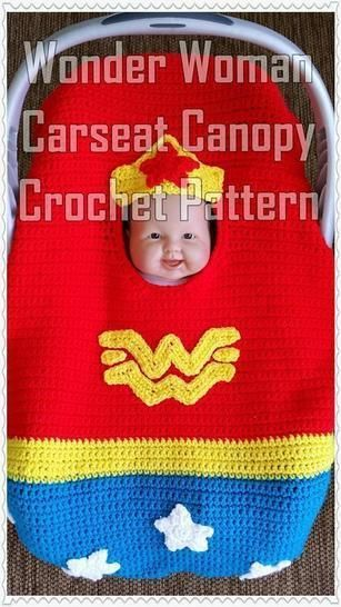 Wonder Woman Infant Car Seat Canopy Crochet Pattern at Makerist - Image 1