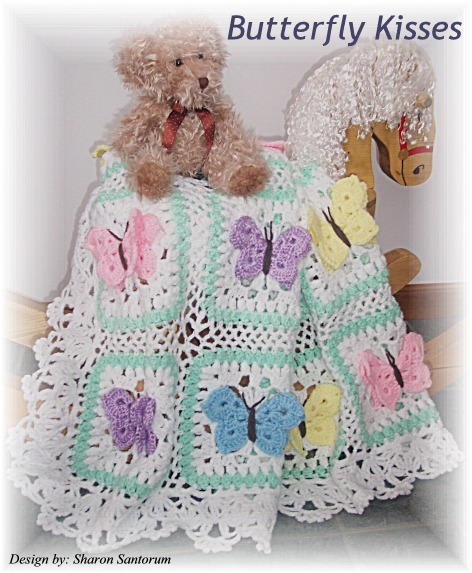 Beautiful Butterfly Kisses Baby Afghan Crochet Pattern