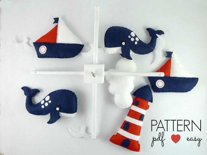 Baby Mobile Sewing Pattern - Boys Nautical Baby Mobile  at Makerist - Image 1