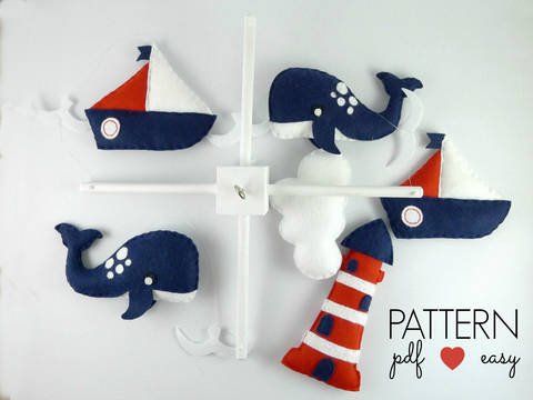 Baby Mobile Sewing Pattern - Boys Nautical Baby Mobile  at Makerist