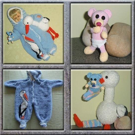 Tauf-Geschenk; Babyanzug und Storch mit Teddy,von DaDaDe bei Makerist - Bild 1