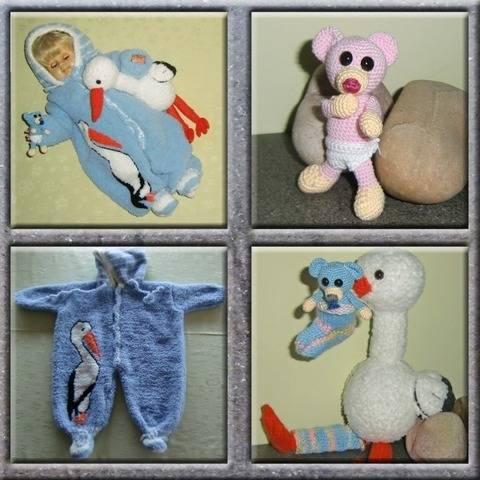 Tauf-Geschenk; Babyanzug und Storch mit Teddy,von DaDaDe
