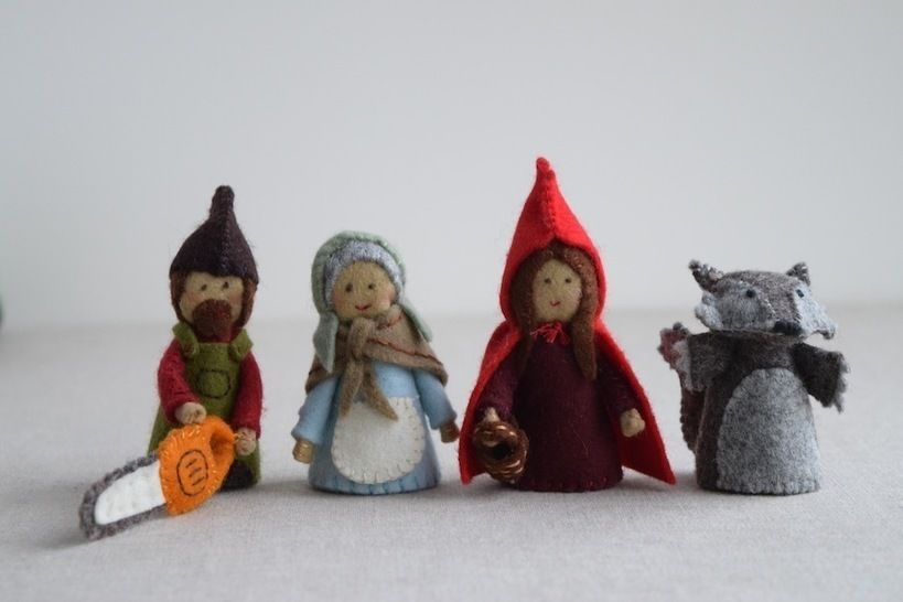 Red Riding Hood sewing pattern playset: Red Riding Hood, Grandma, Wolf and Woodsman/Woodswoman Finger Puppet sewing patterns at Makerist - Image 1