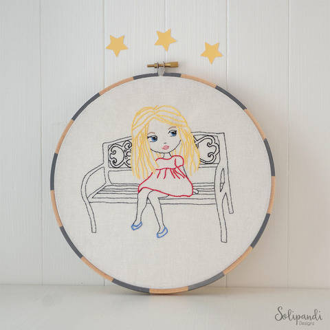Little Blond Girl Sitting on Park Bench, Hand Embroidery PDF Pattern