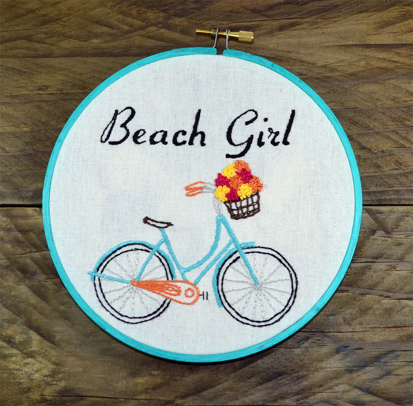 Ladies Beach Cruiser Bike, Turquoise retro bicycle with pastel flowers in basket, Hand Embroidery PDF