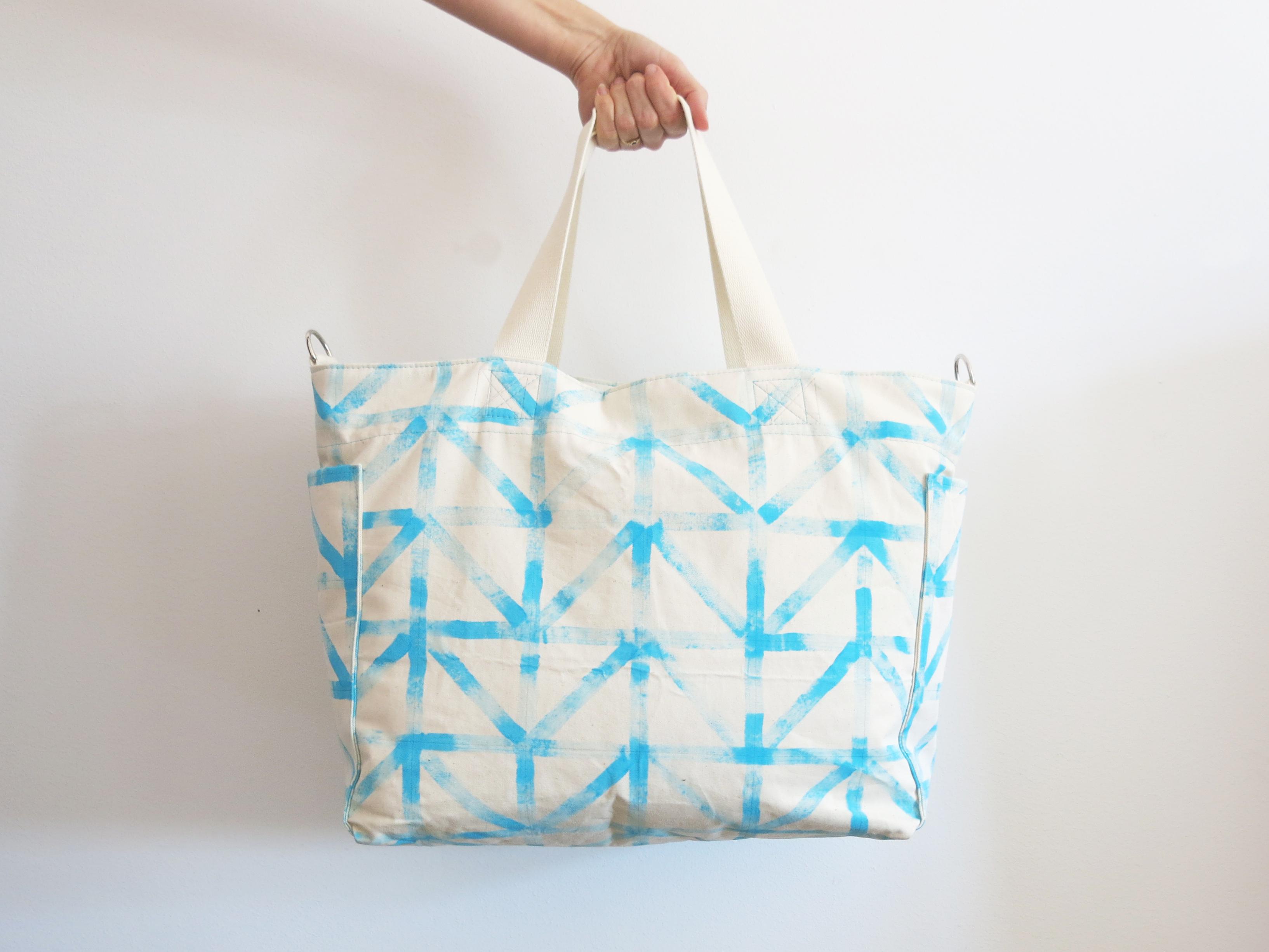 Wickeltasche oder City Shopper mit praktischen Taschen Außen und Innen