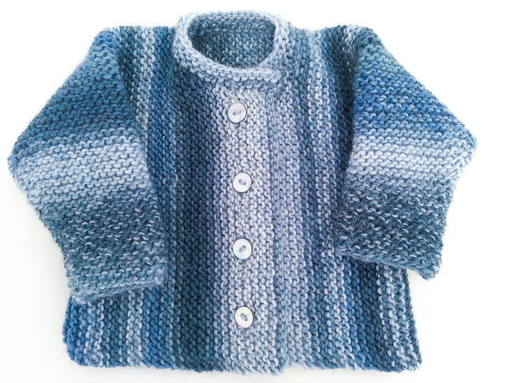 KNITTING PATTERN , Garter Stitch Baby Cardigan, One Piece ...