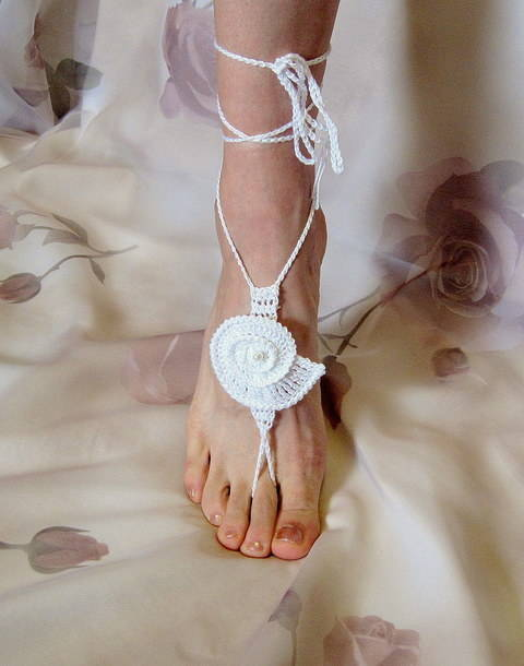 Barefoot Sandals, Sea Shell, Bridal, Summer, Beach Wedding, Yoga at Makerist