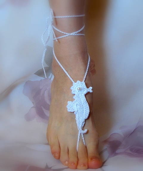 Barefoot Sandals Seahorse, Bridal, Summer, Beach Wedding, Yoga at Makerist
