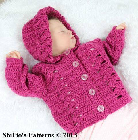 CP2 Trellis Baby Hooded Jacket in 4 Sizes 0-12mths Crochet Pattern #2 at Makerist