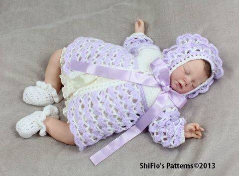 CP14 Athena Rose Jacket, Hat & Shoes Baby Crochet Pattern #14