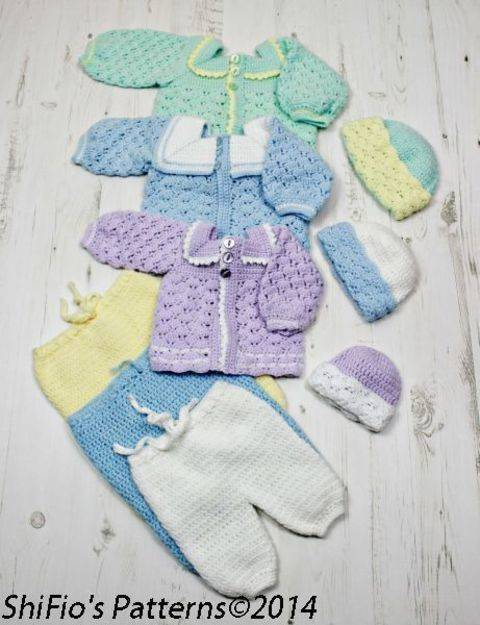CP17 Baby Sailor Boy Suit, Pants, Jacket, Beanie in 3 Sizes Crochet Pattern #17 at Makerist