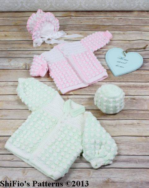 CP18 Bobble Twins Jacket, Bonnet & Hat Baby Crochet pattern #18 at Makerist