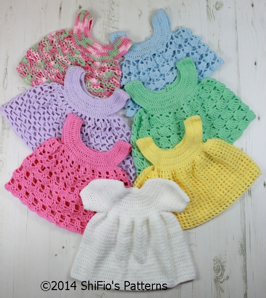 CP20 Baby Dress and 6 Aprons Baby Crochet Pattern #20