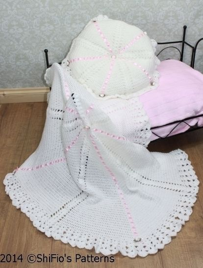 CP22 Summer Satin Christening Shawl, Afghan & Pillow Baby Crochet Pattern #22 at Makerist - Image 1