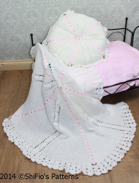 CP22 Summer Satin Christening Shawl, Afghan & Pillow Baby Crochet Pattern #22