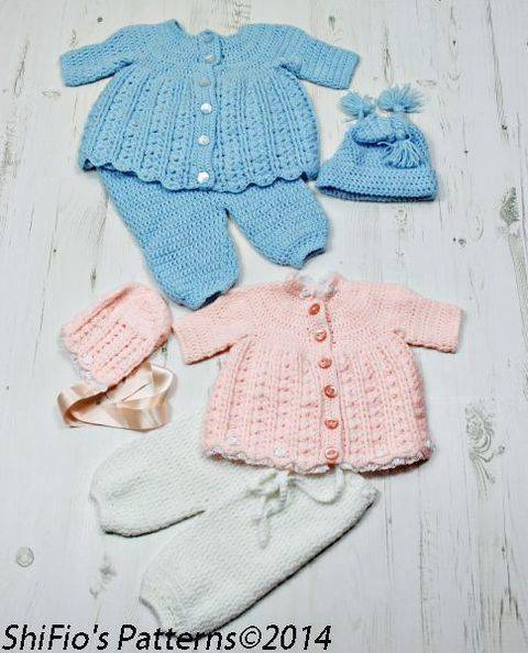CP23 Pippety Pop Jacket, Dress, Trousers/Pants, Bonnet & Hat Baby Crochet Pattern #23