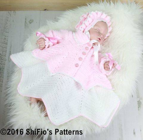 CP30 Ripple Baby Dress, Jacket & Bonnet Baby Crochet Pattern #30 at Makerist