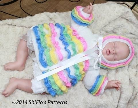 KP42 Rainbow Baby Matinee Jacket & Bonnet Knitting pattern #42