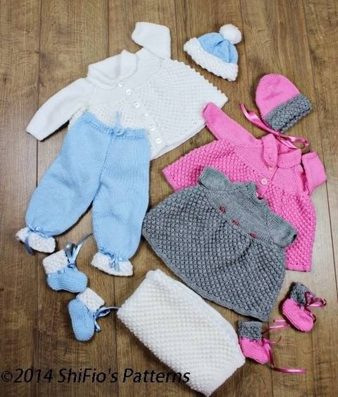 KP43 Bobble Baby Jacket, Trousers,Pants Dress, Booties, Hat & Blanket / Afghan Baby Knitting Pattern #43