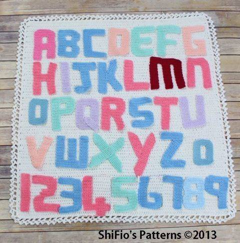 CP51 Alphabet Letters, Numbers & Afghan Blanket  Crochet Pattern #51 at Makerist